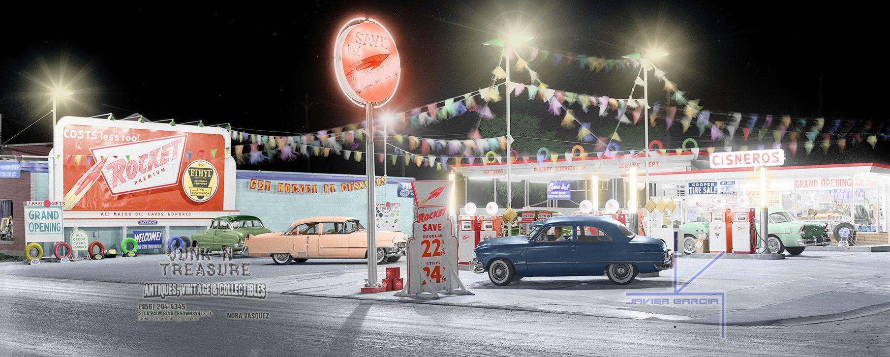 Cisneros rocket service station c1952 brownsville texas