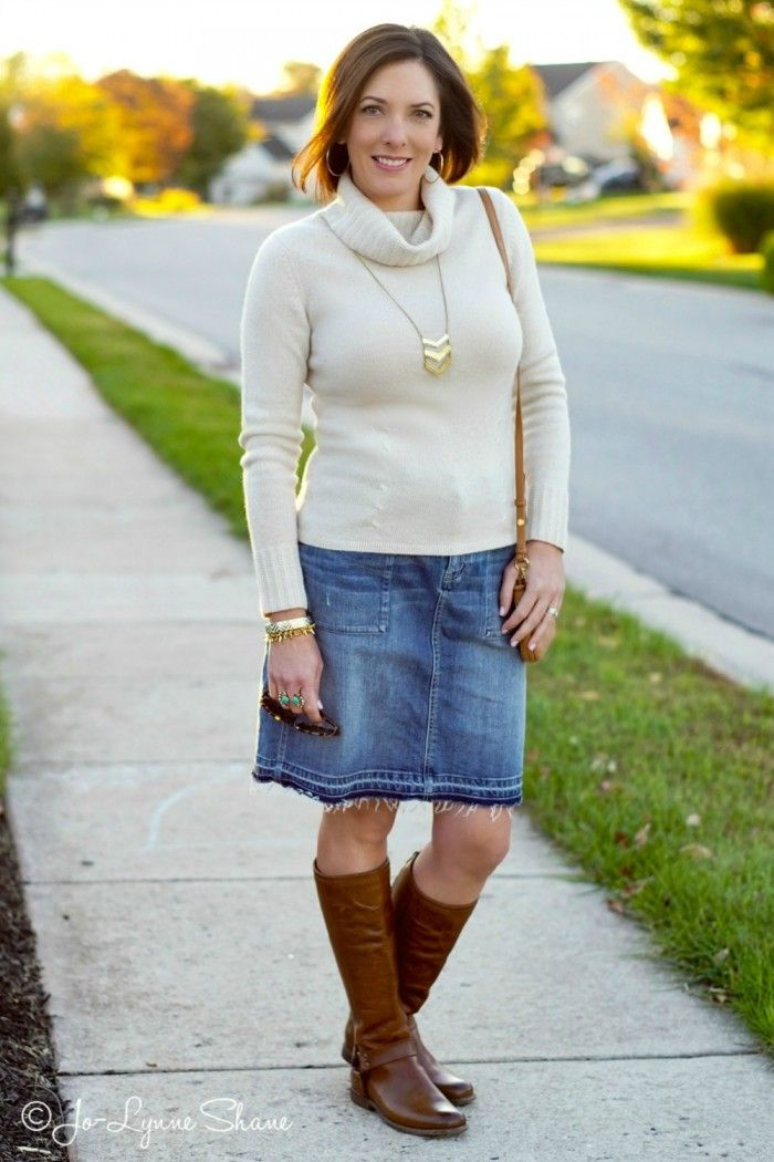 Fall Outfit Inspiration: Denim Skirt   Riding Boots | Skirts ...