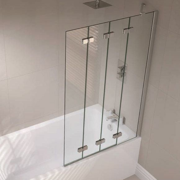 April Prestige Frameless 4 Panel Folding Bath Screen, 1500mm High X 965mm  Wide,