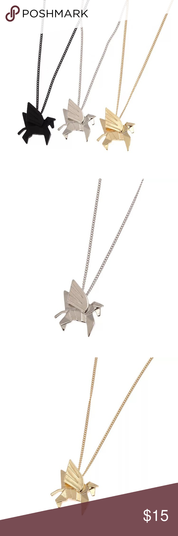 Photo of Origami Unicorn Necklace These unicorn necklaces really look like folded paper i…