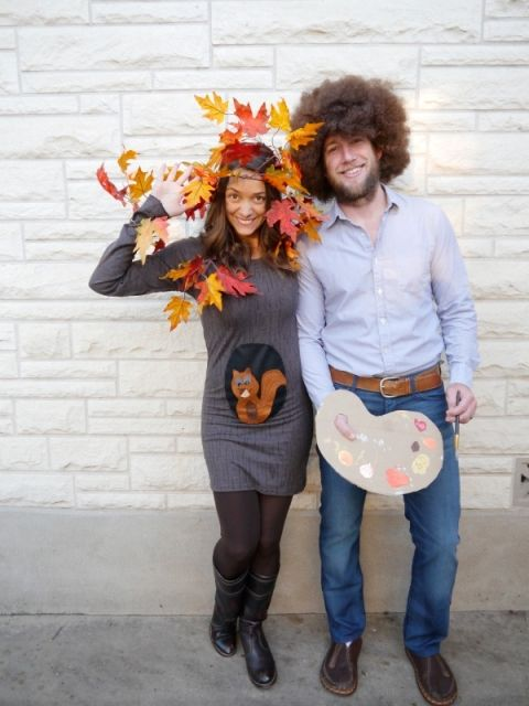 diy family costume bob ross happy little tree and a squirrel