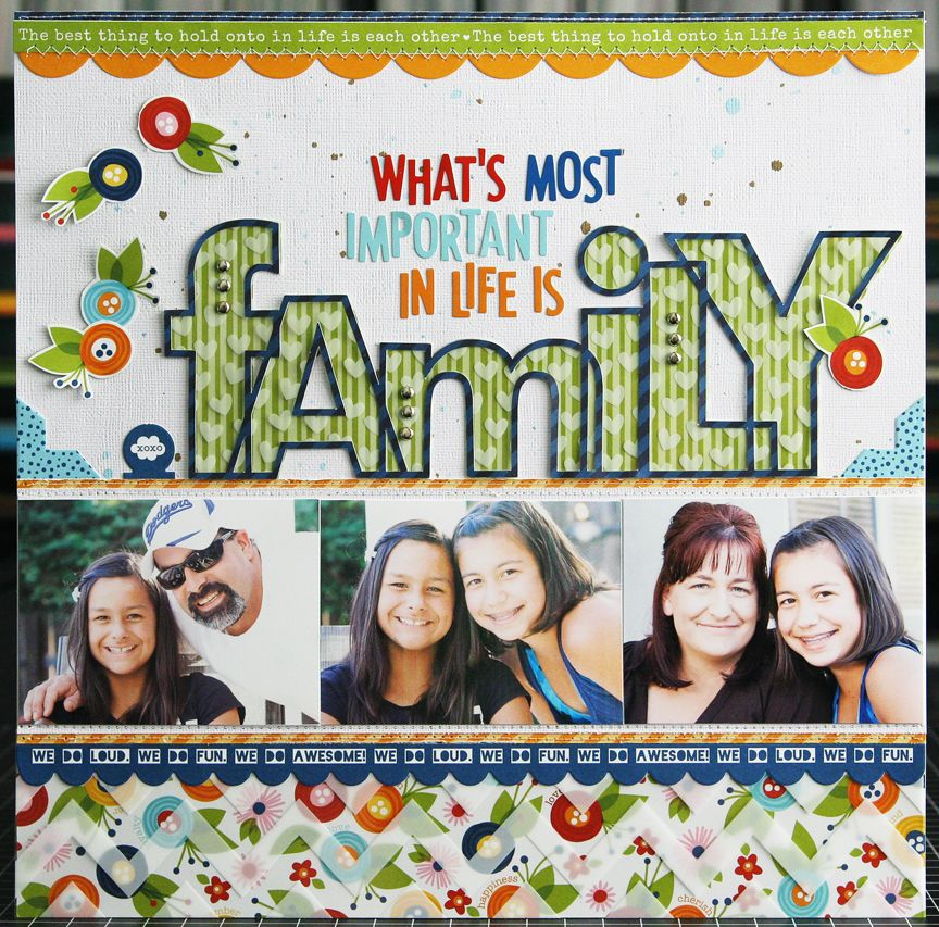 """Love the """"family"""" in this layout! The framed letters on ..."""