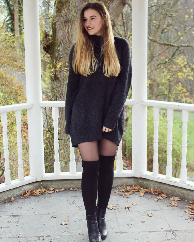 2175e06cae0 Black thigh high socks over black pantyhose