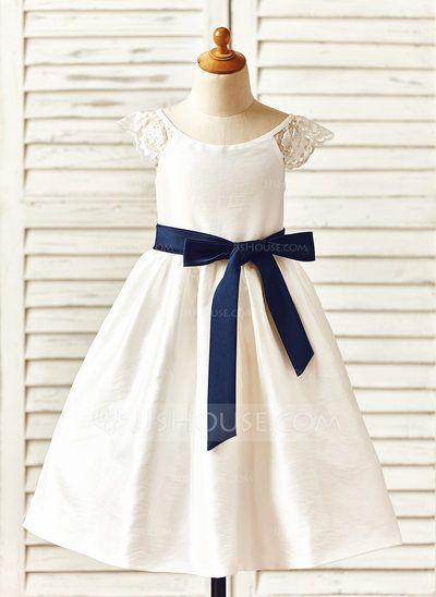 4a96aaaff71a A-Line Princess Tea-length Flower Girl Dress - Taffeta Sleeveless ...