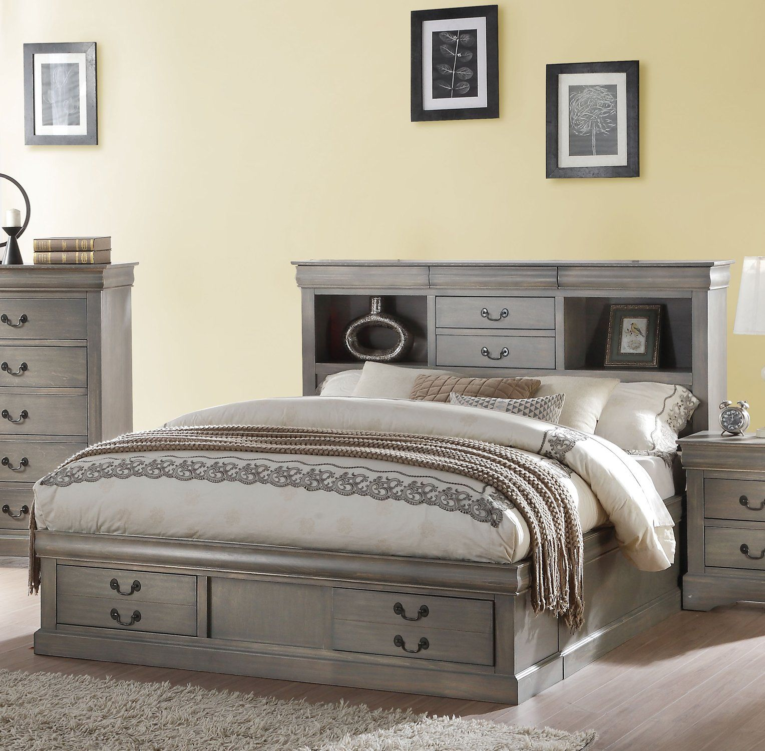Best Acme 24360Q Louis Philippe Antique Gray Queen Storage Bed 400 x 300