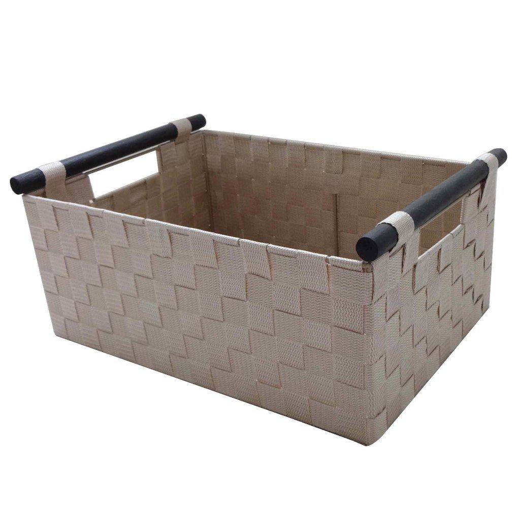 Medium Khaki Basket With Dowel Handle By Ashland Small Storage