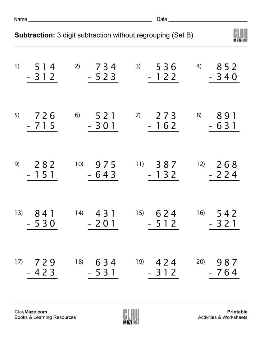 3 digit subtraction worksheet - no regrouping [ 1100 x 850 Pixel ]
