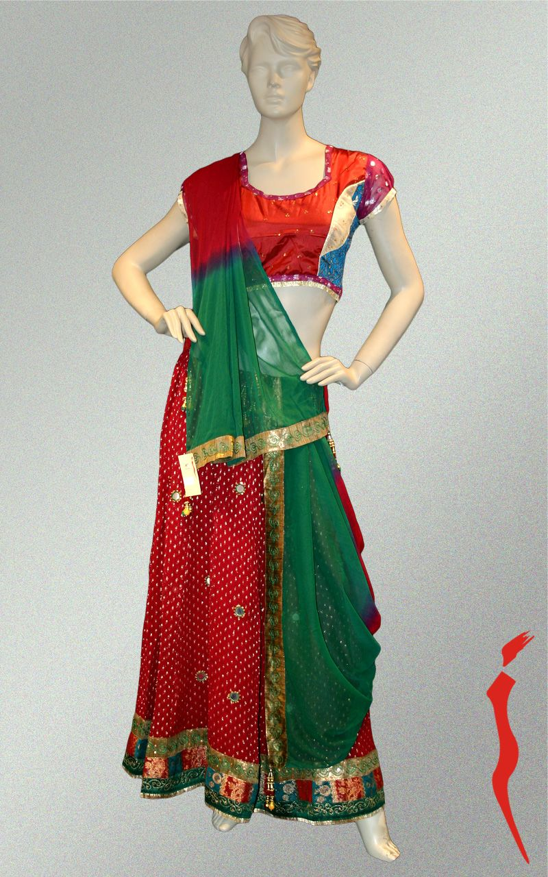 Maroon georgette lehnga with gold boottis and brocade border with cotton silk blouse and matching chiffon dupatta.