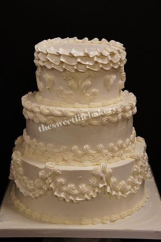 Old School White Wedding Cake, #white #wedding