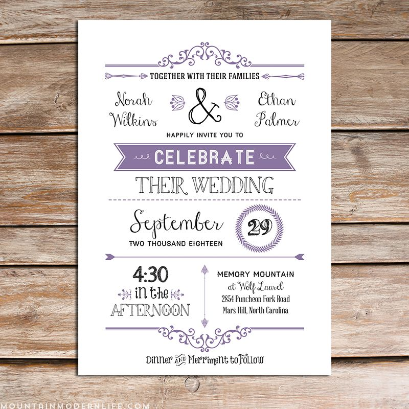 lavender diy wedding invitation set 09 09 16 dress ideas