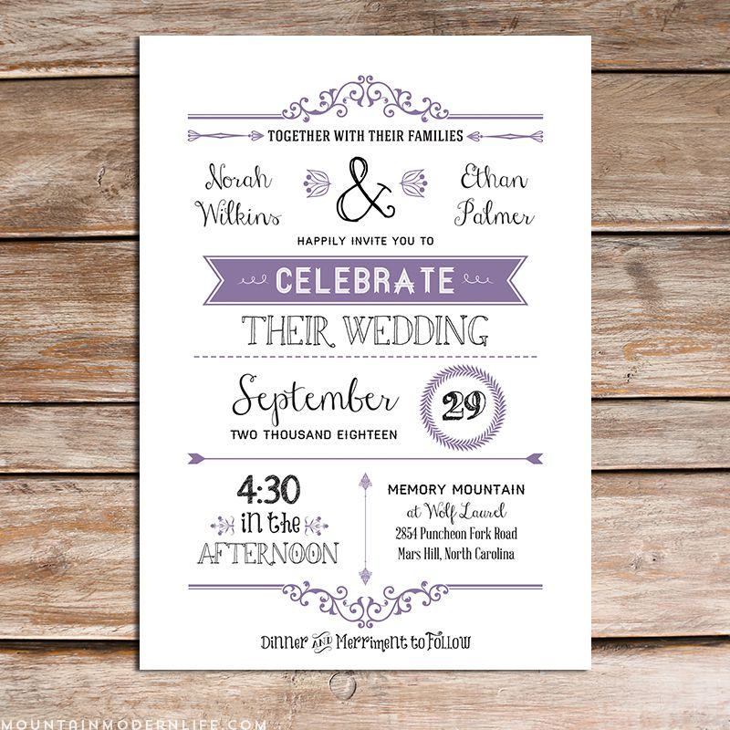 Lavender Diy Wedding Invitation Set