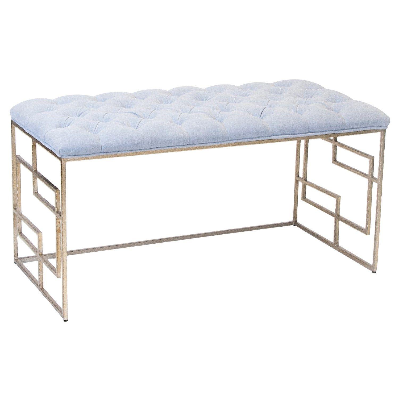 Worlds Away Devin Silver Leafed Bench Lavender Tufted Top Zincdoor Upholstered Bench Bench Furniture Furniture