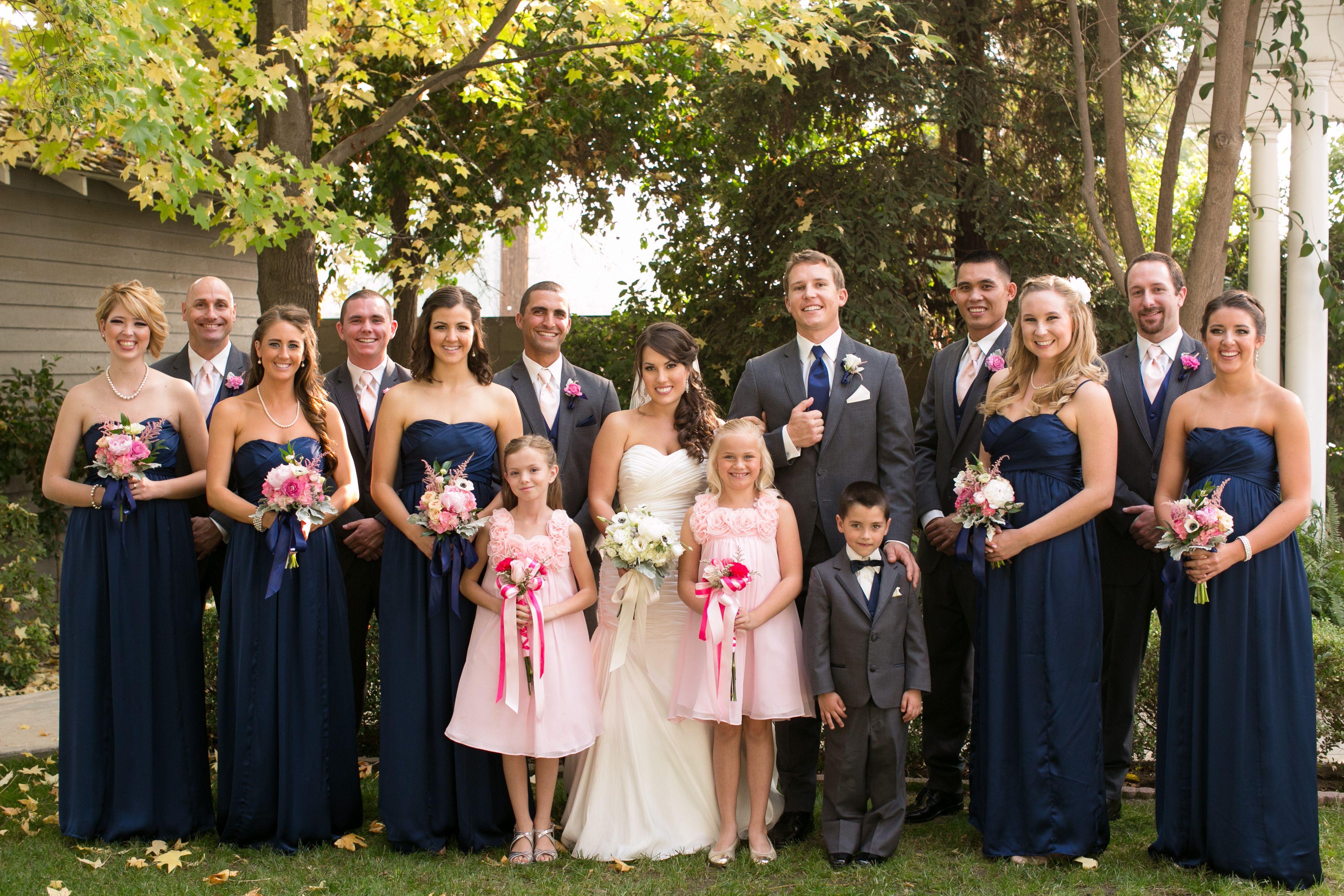 Navy and Gray Bridesmaid Dresses