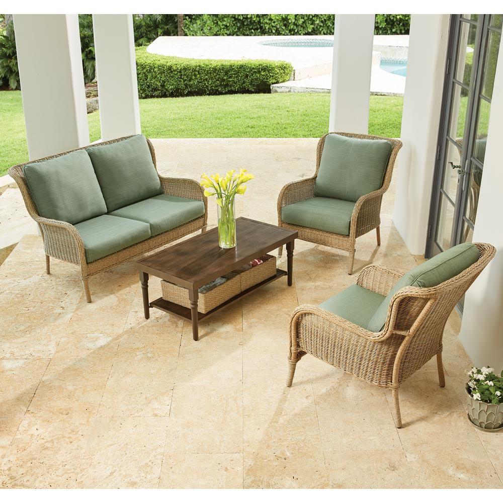 Hampton Bay Lemon Grove 4Piece Wicker Patio Conversation Set with