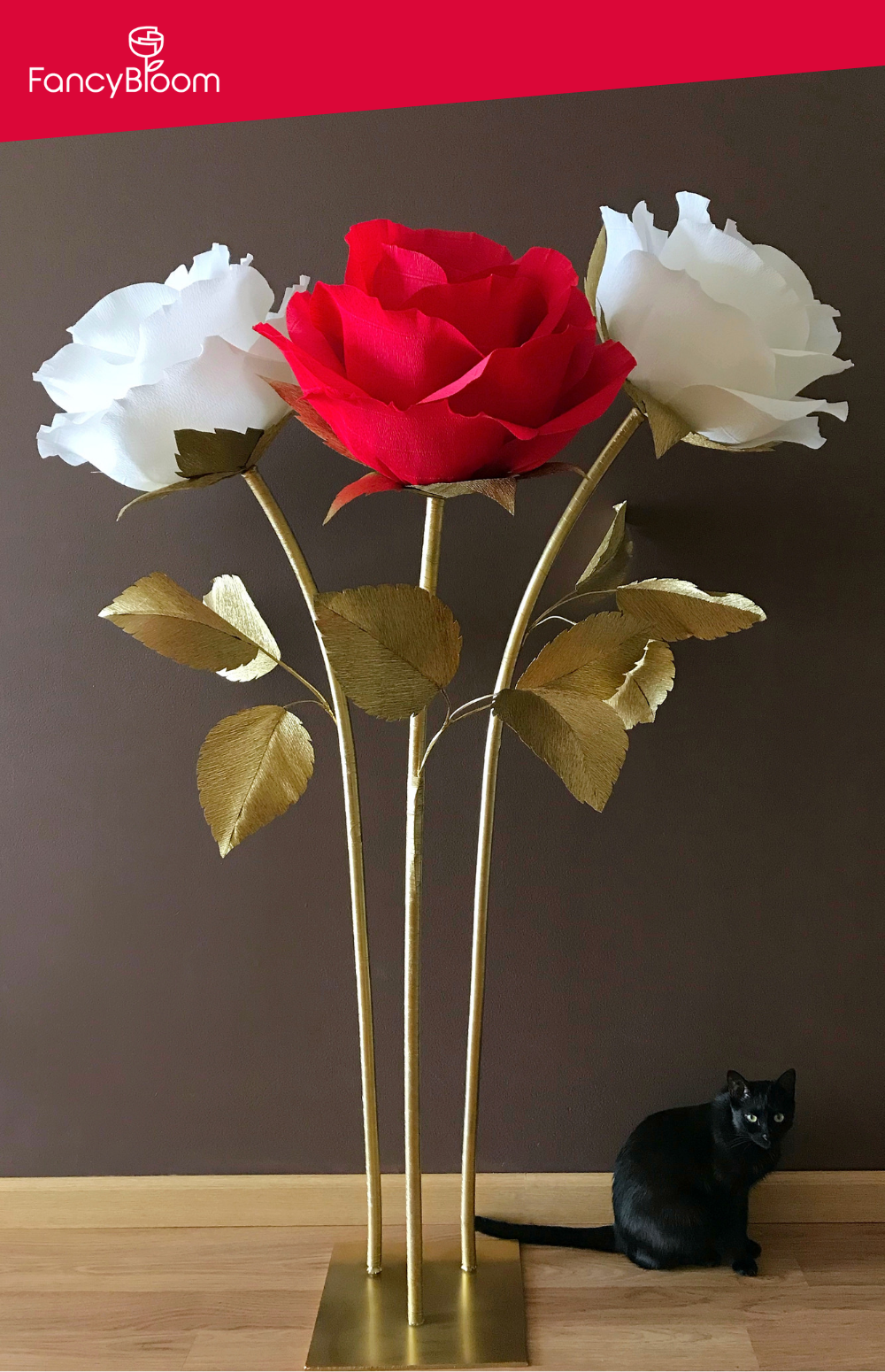 Giant Crepe Paper Roses  #crepepaperroses Gorgeous giant paper roses in Christmas/Holidays classic colors - red, white and gold - from FancyBloom. Christmas paper flowers, paper craft, paper flowers craft, paper rose, paper roses, crepe paper roses, how to make a giant paper rose, paper roses diy, giant paper roses, crepe paper flowers, crepe paper, giant crepe paper flowers, crepe paper flower tutorial, crepe paper rose, crepe paper crafts, crepe paper diy, crepe paper Italian, crepe paper idea #crepepaperroses