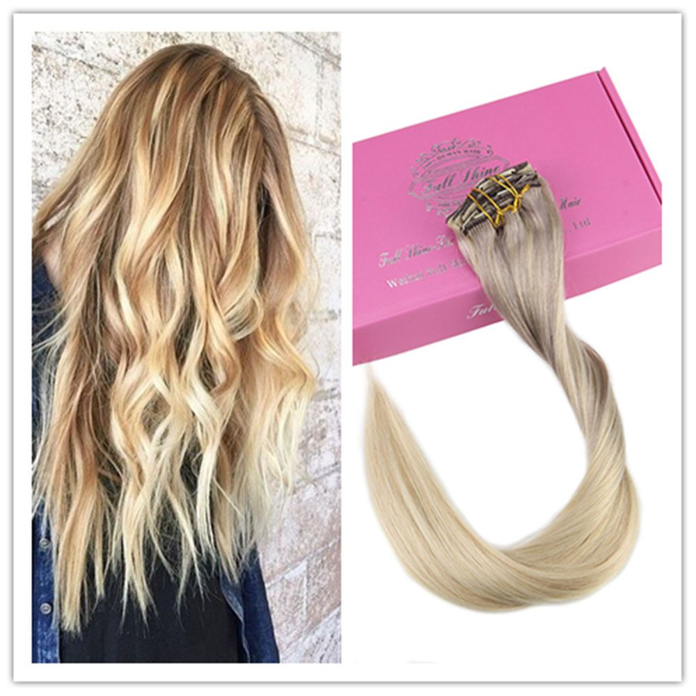 Pcs g ombre clip in remy human hair extensions clip hair