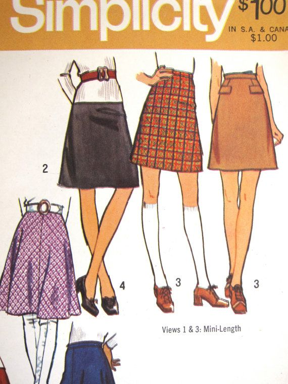 321805fad Simplicity 9561 Skirts Sewing Pattern 70s Mini, Flared & A-Line Skirt  Patterns