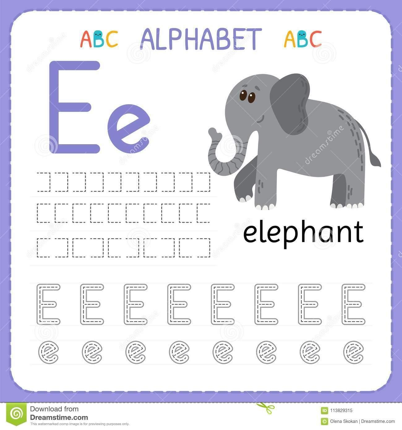 Letter E Tracing Worksheets Preschool