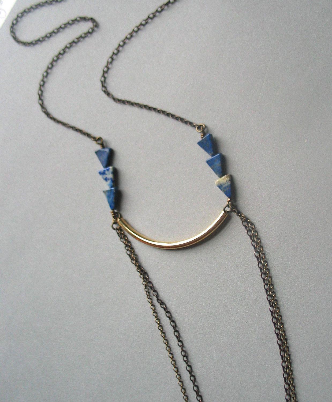 long lapis lazuli triangle necklace