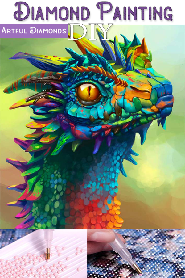 *Premium* Rainbow Dragon DIY Diamond Painting Kit For Beginners & Experts. Available in multiple sizes. Instant stress relief for anxiety treatment. Makes a beautiful gift or decoration once finished and framed! #diamondpainting