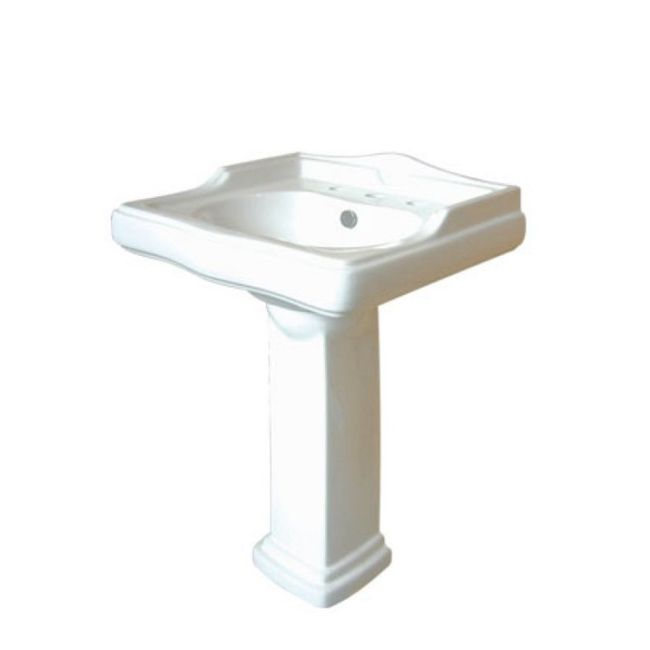 This pedestal sink features an elegant vitreous china construction that is stain-resistant, easy to clean and germ-resistant. This bathroom sink features traditional styling, offering a classic touch to your bathroom decor.
