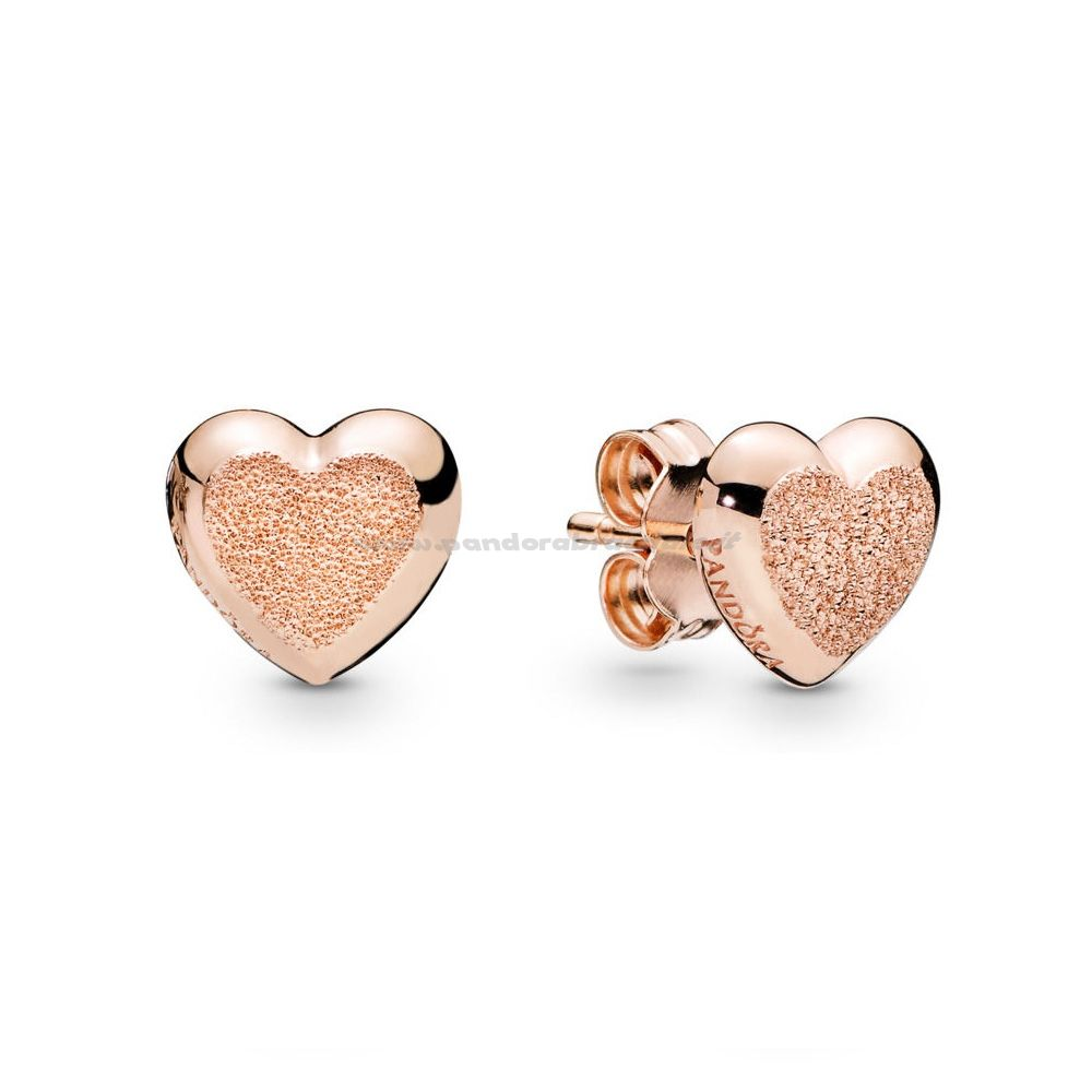 PANDORA Rose-Matte Brilliance Hearts Earrings, Pandora Rose ...