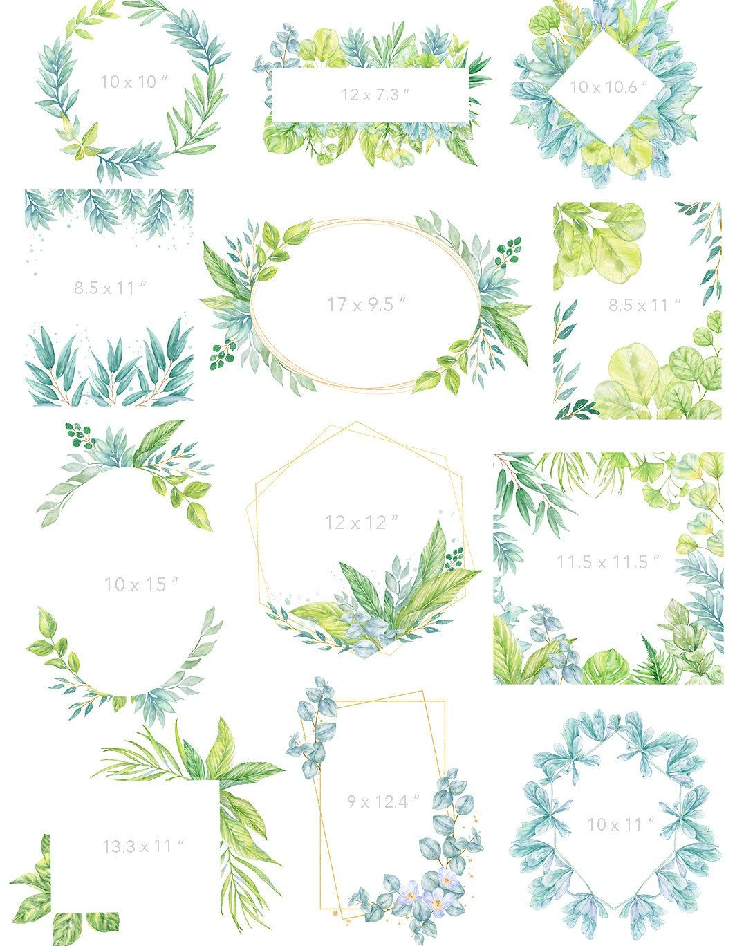 Watercolor Botanicals Clipart Collection Green Leaves Wreaths