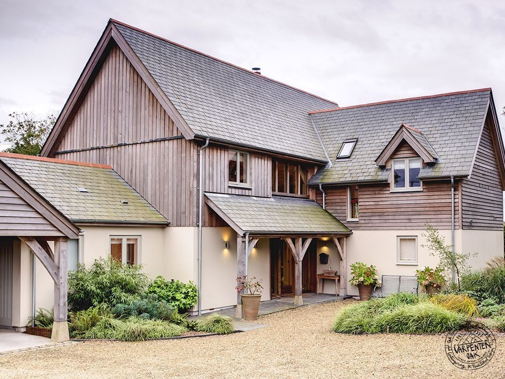 Completed 2 Storey Oak Frame House With Timber Cladding And Oak Porch House Cladding Barn Style House Oak Frame House