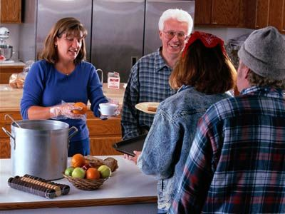 Volunteer at the soup kitchen.