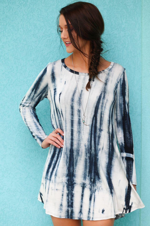 Oceanside Tide Teal & Ivory Long Sleeve Tie-Dye Tunic Dress | Wild ...