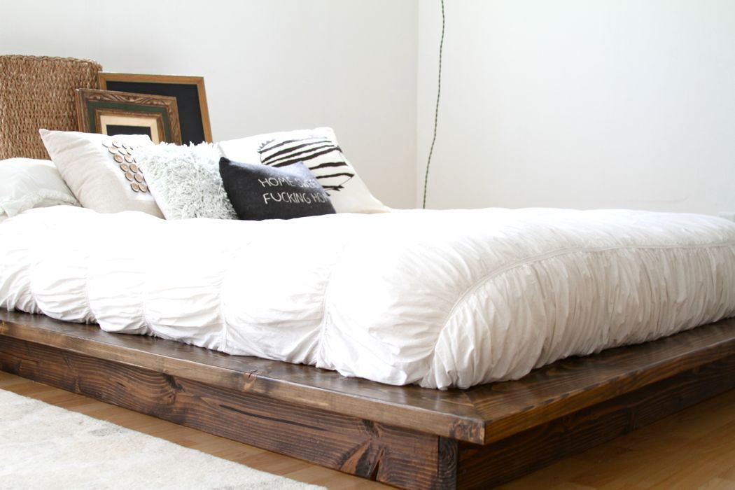 a floating platform bed frame from pereidarice woodworking pictured queen size solid wood floating platform bed frame and headboard set stained