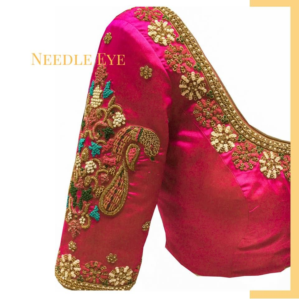 ee291178f400de Beautiful pink color designer blouse with 3D floral design hand embroidery  thread work. 28 August 2017