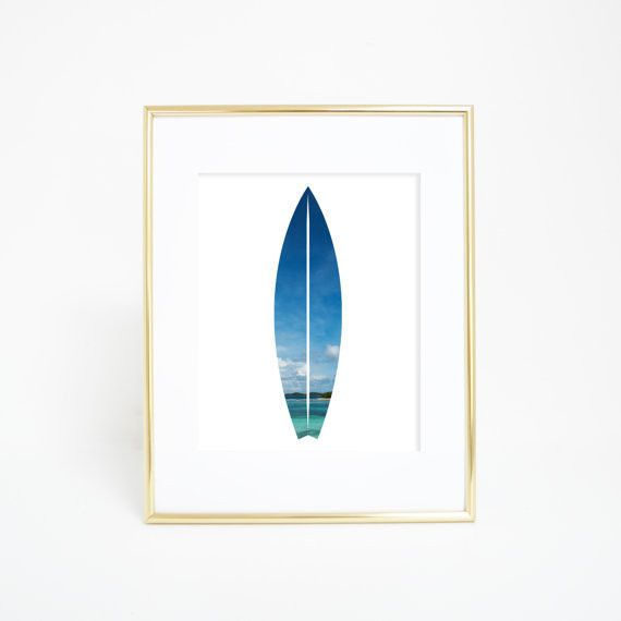 Bring the beach into your home with this tropical surfboard wall art print. It's a great nautical addition for any home, dorm, office or nursery.