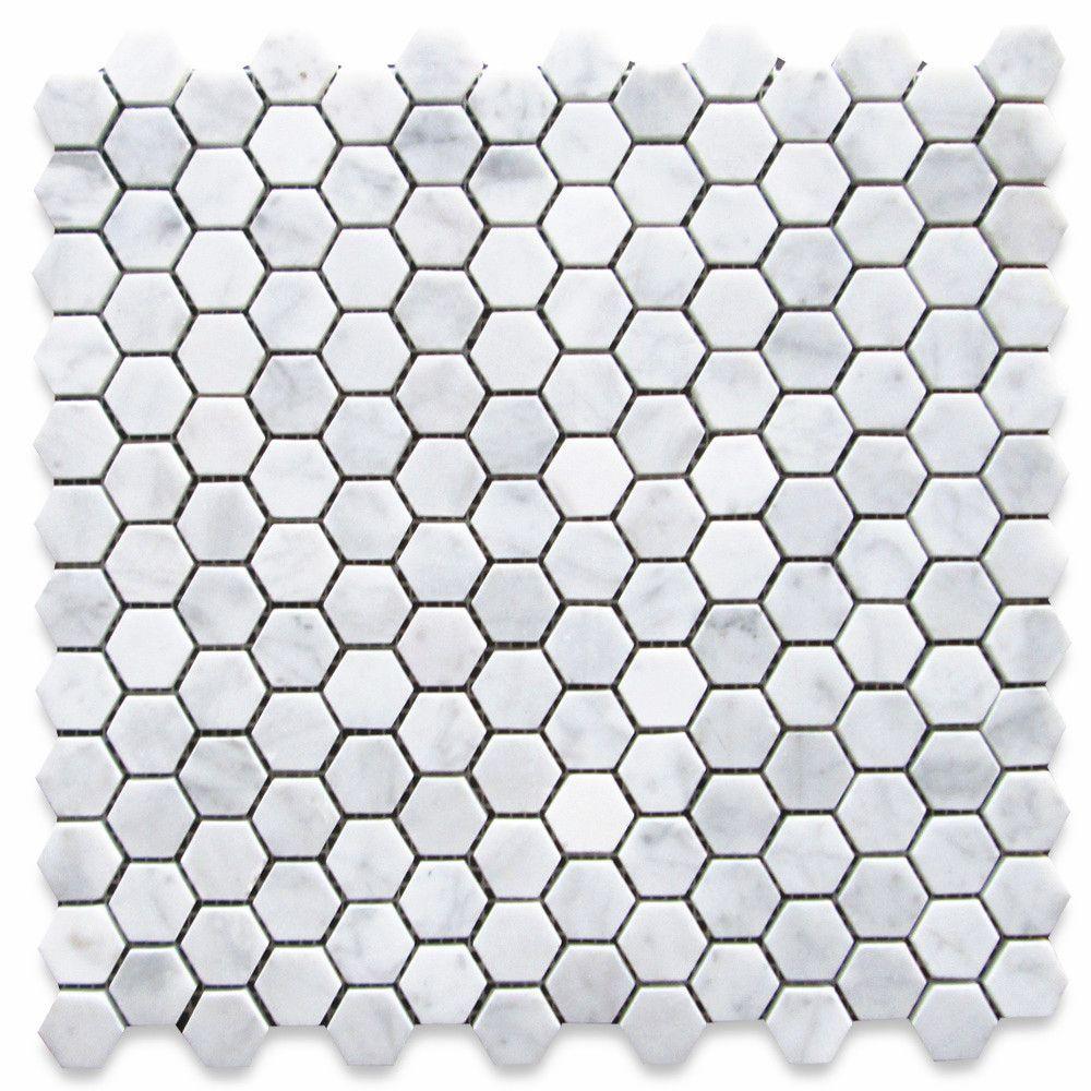 Carrara White Marble 1 Inch Hexagon Mosaic Tile Honed Hexagon Mosaic Tile Hexagonal Mosaic Mosaic Tiles