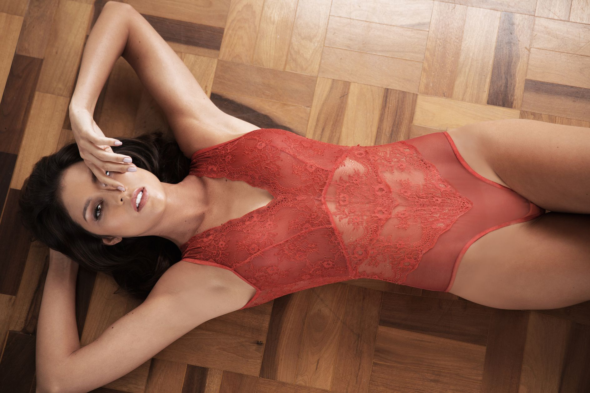 Hibiscus Lace Bodysuit in terracota- Carol Coelho Intimates. Available at  shop.carolcoelho. 3b391e0a3d9