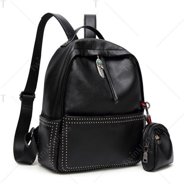 Ethnic Pendant Rivet Backpack with Coin Purse Black ($34) ❤ liked on Polyvore featuring bags, knapsack bag, change purse, rivet bag, backpack bags and daypack bag