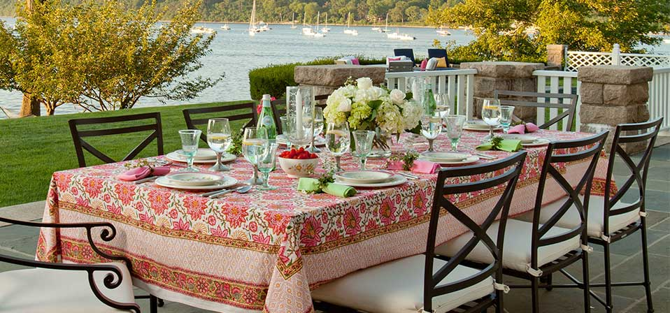 Hand Blocked Table Linens Colorful Table Linens Customized