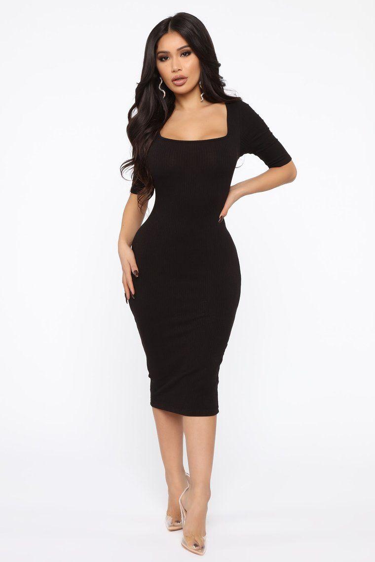 A Little Bossy Midi Dress Black Black dresses classy