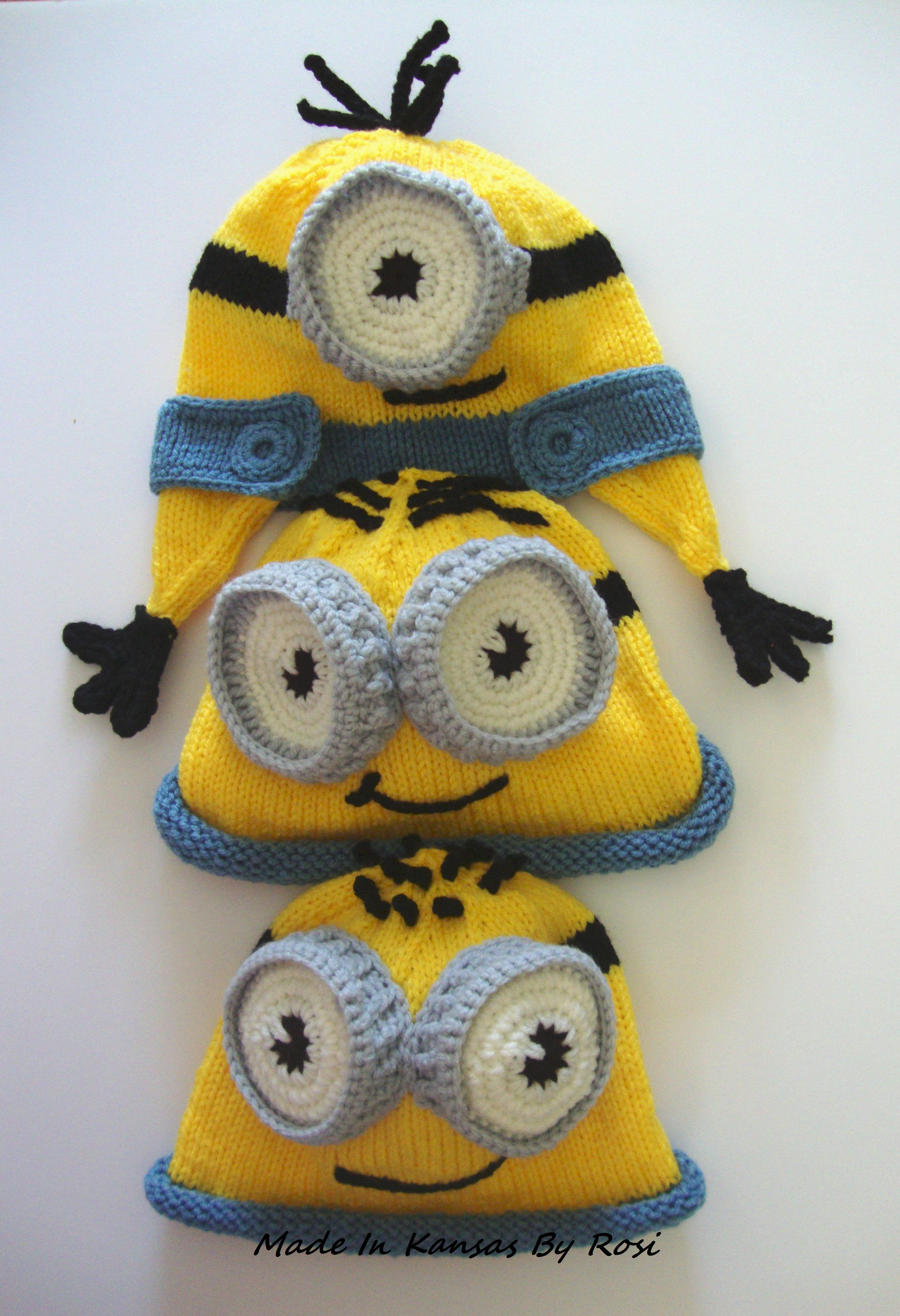 Knitted minion hats | Made In Kansas By Rosi | Pinterest | Minion ...