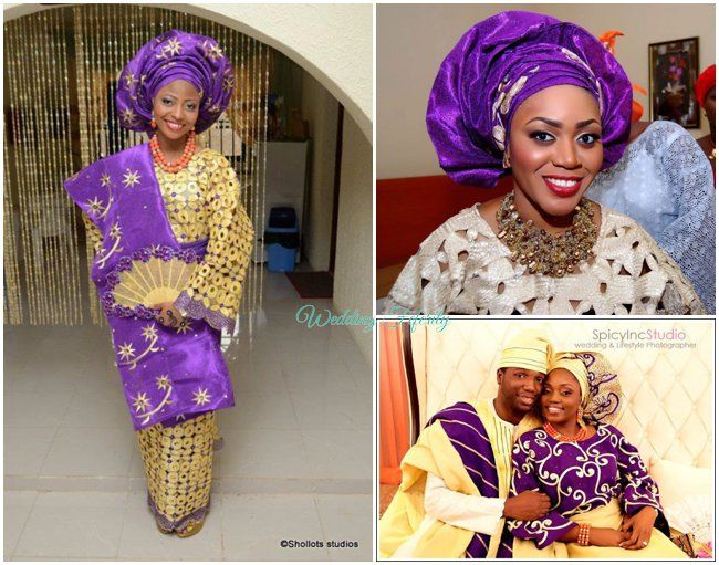 Purple Gold Yoruba Traditional Wedding Attire
