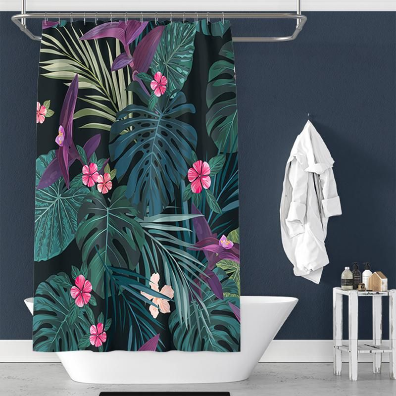 Tropical Sleeves Flower Print Shower Curtain For Bathroom