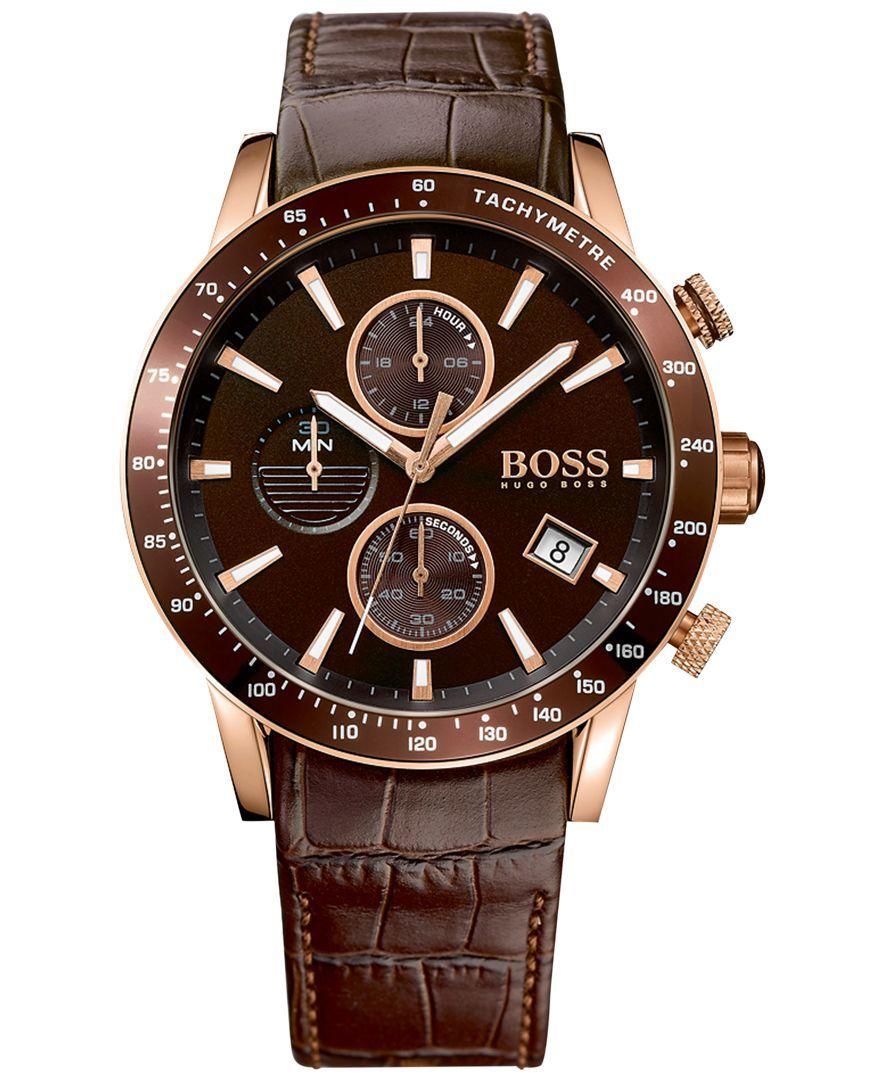 81069d58c77 Boss Hugo Boss Men s Chronograph Rafale Brown Leather Strap Watch 44mm  1513392