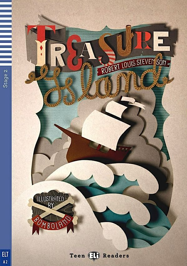 Treasure Island by Robert Louis Stevenson: book cover illustration by Bomboland.