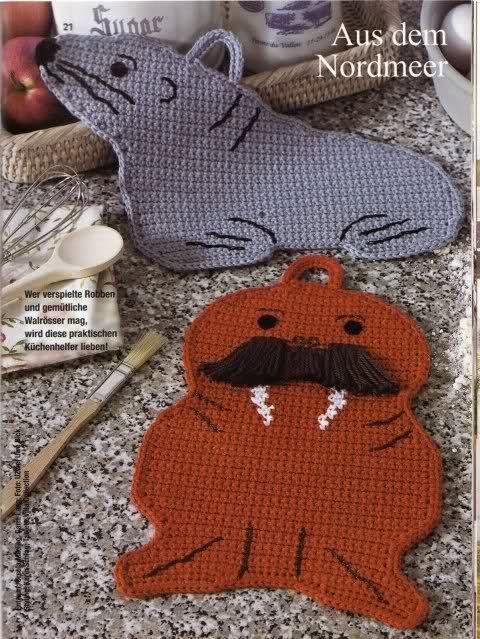 Walrus Pot Holders w/ Chart | Crochet Hotpad Trivet Pot Holder ...