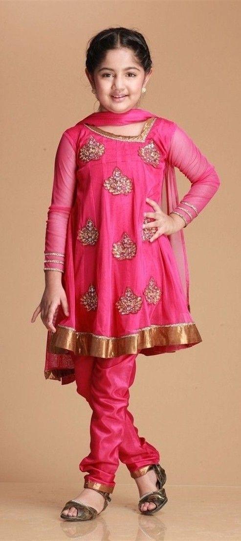 kids fAshion dress pink kurti | Ethnic wear for kids ...