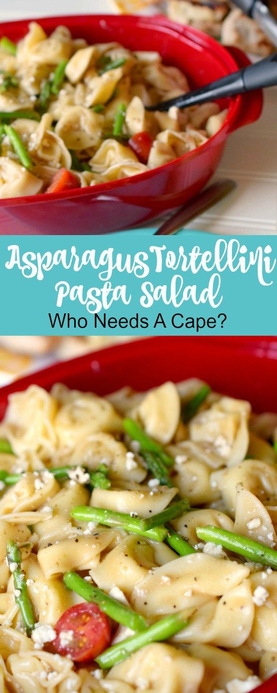 A Taste Of Summer Is What Asparagus Tortellini Pasta Salad Brings To Table Loaded With Deli Pasta Salad With Tortellini Tortellini Pasta Cold Tortellini Salad