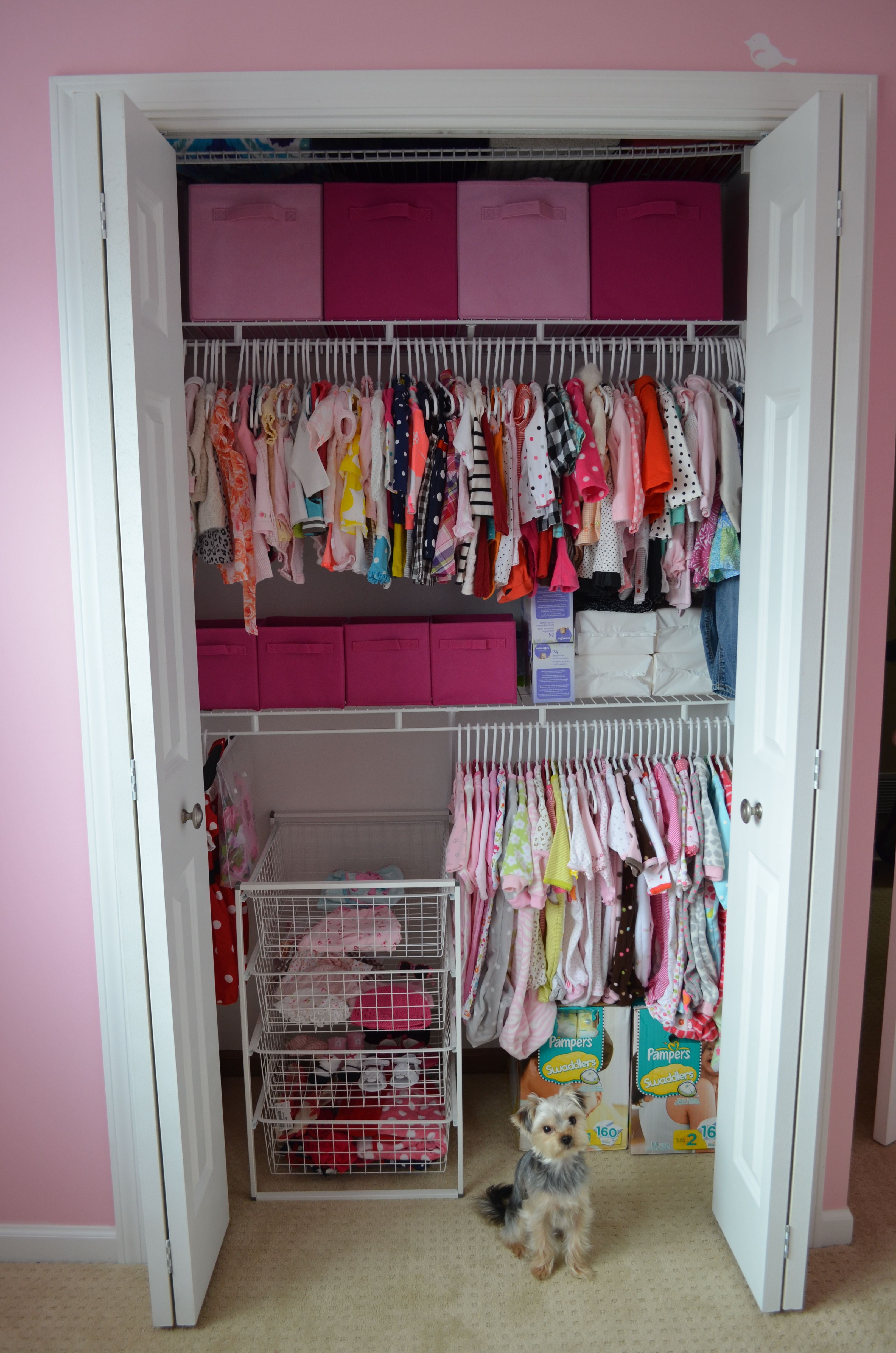 Added an extra shelf for an organized baby closet  Toddler closet