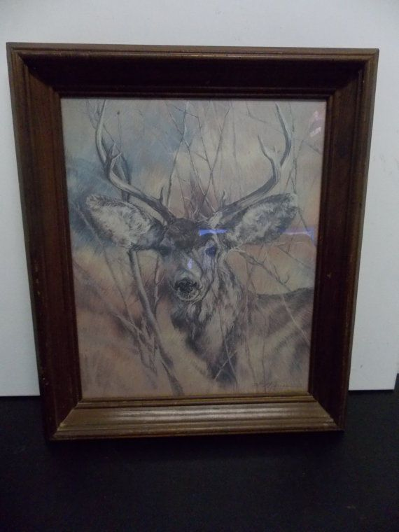 Vintage large 1978 the silent buck deer framed picture - Home interior deer pictures for sale ...