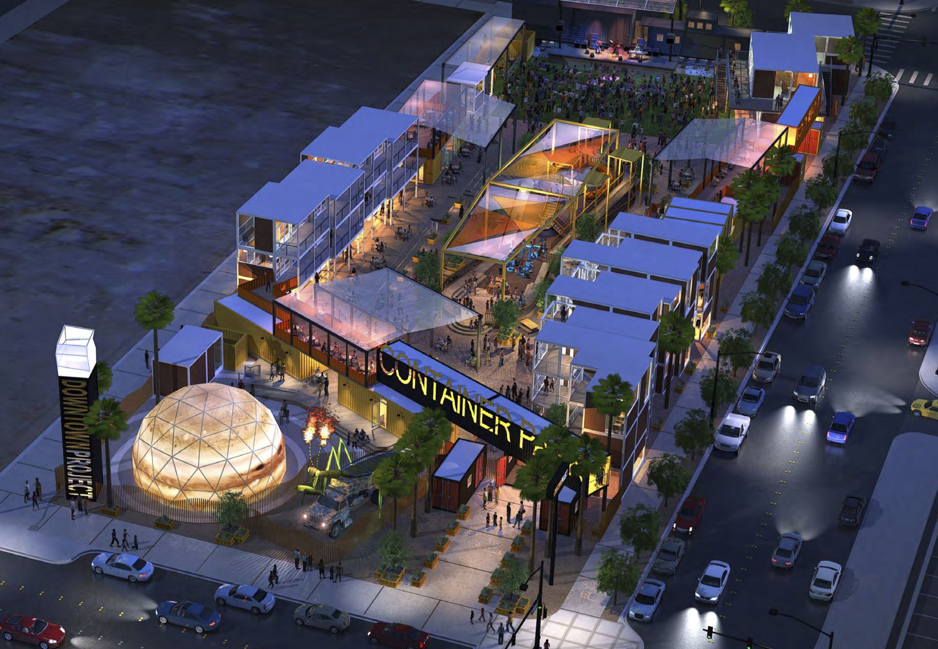 A shipping container park at fremont and seventh streets the idea of downtown project and - Container homes las vegas ...