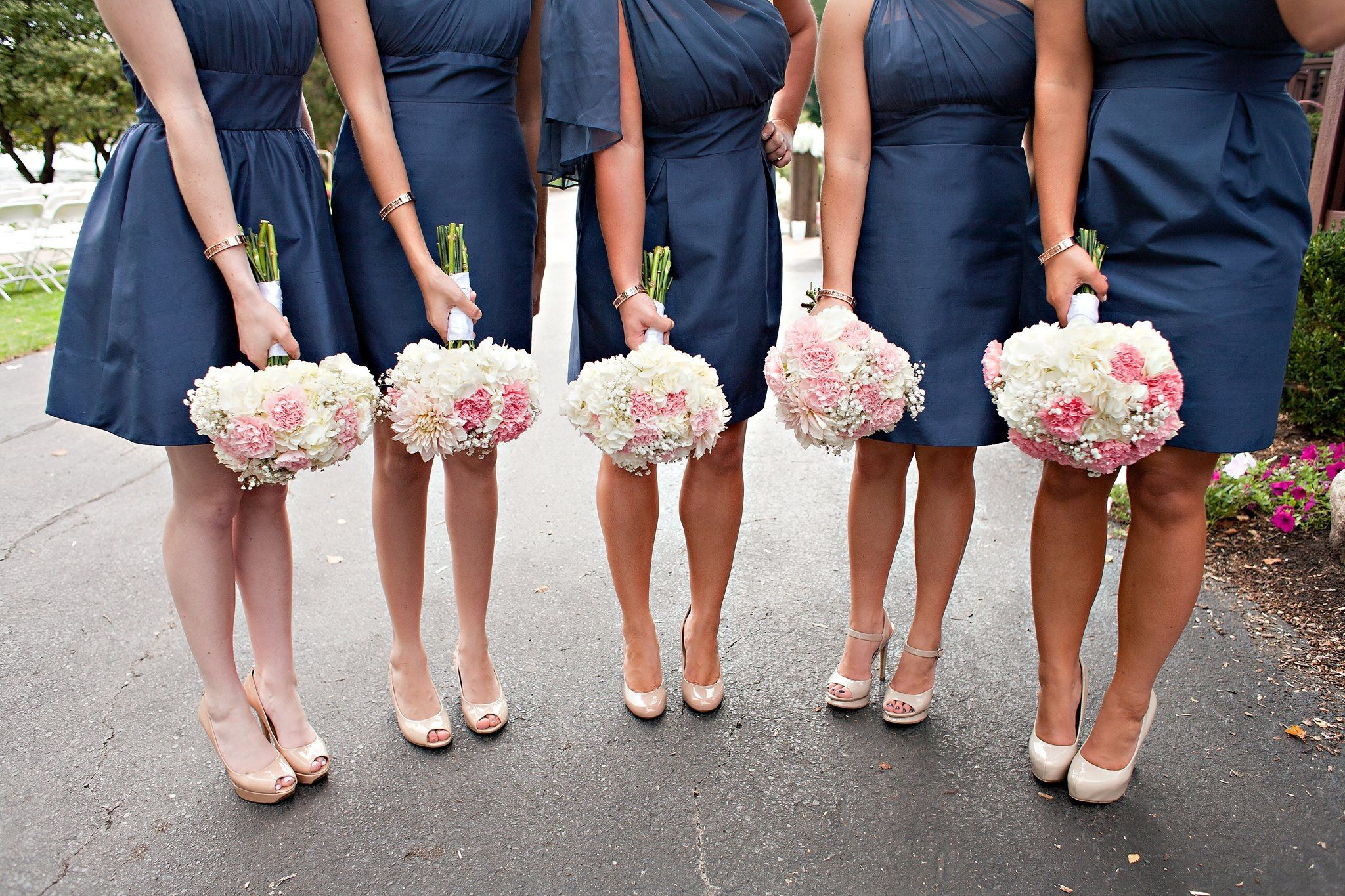 Navy bridesmaid dresses nude pumps rose gold for What colour shoes with navy dress for wedding